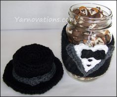 Tuxedo Crochet Pattern - Free crochet pattern for tuxedo jar coverf AND the tuxedo almonds to go inside!!!