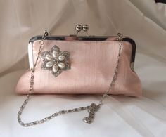 CLASSIC CLUTCH bridesmaid gifts with rhinestone brooch in blush silk Personalized Custom with Inscription your choice by franklymydearvintage on Etsy https://www.etsy.com/listing/243351363/classic-clutch-bridesmaid-gifts-with