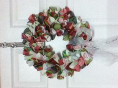 Xmas Wreath made from scrapbooking paper rolled into cones.