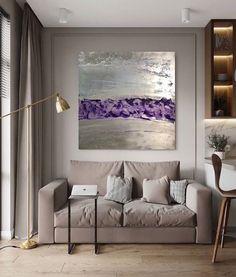 Original acrylic, handmade art, large wall art, textured art, violets, flower meadow