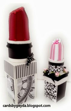"Check out Misty's beautiful Lipstick Boxes, the pink striped one is the original file size of 7 1/2"" tall and the burgundy is 11"" tall, wow!  Think of all the gifts you can put inside and give to a lucky lady or young girl!  These and other great files can be found in DRESS SHOP SVG KIT.    There's a Dress Form, you have to check it out!"