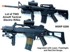 2x Electric Airsoft Gun Package M4A1 Rifle and G36C AEG by AirSoft. $113.86. 2 POWERFUL AND HEAVY Airsoft Electric AEG Rifles (M4A1 Tactical RIS & G36C Tactical) They are FULL SIZE 1:1 scale models and are great airsoft electric rifles! Both come with: - Flashlight (batteries included) - Adjustable red dot scope (batteries included) - Adjustable hop up feature for MAXIMUM POWER, RANGE, AND ACCURACY - Adjustable stock for comfort - Adjustable full/semi automatic firin...
