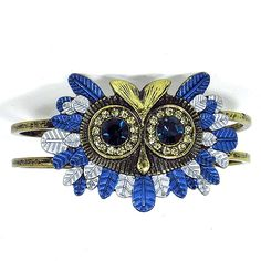 12 Beautiful Owl Braceletes Blue rhinestone owl bracelet for gracie