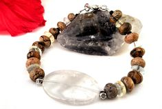 Quartz and picture jasper bracelet by InsomniacTreasures on Etsy, $23.00