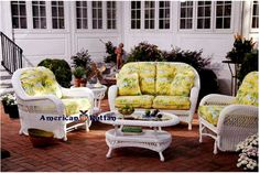 Our Grand Cayman white patio wicker group for Spice Island Wicker