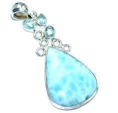 $89.95 Genuine+Blue+Larimar++Swiss+Blue+Topaz+Sterling+Silver+handmade+Pendant at www.SilverRushStyle.com #pendant #handmade #jewelry #silver #larimar