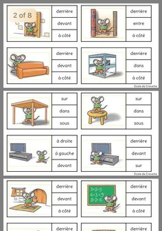 Prepositions - We publish good gifts idea Study French, French Kids, Core French, Learn French, French Language Lessons, French Language Learning, French Lessons, Spanish Lessons, French Basics