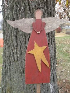 Primitive Wood Angel Pattern with Wire Halo