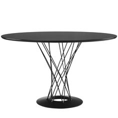 "This round restaurant table ""Field"" features a mid-century stylish design. It features circular fiberboard top and chrome-plated steel wires. Suitable for both indoor and outdoor, ""Field"" is a unique table for your venue."