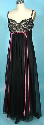1950's CHEVETTE Sexy Black Nylon, Lace and Satin Ribbon Nightgown