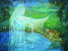 """Mother of Water at Summer Solstice by Wendy Andrew (from Luna Moon Hare series.) """"Luna lifts her head and a beautiful glistening figure emerges from the spring. She stretches out her arm and it makes a path to forever."""""""