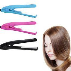 US plug Mini Hair Straightener Irons Ceramic Tourmaline Plates Flat Iron Beauty