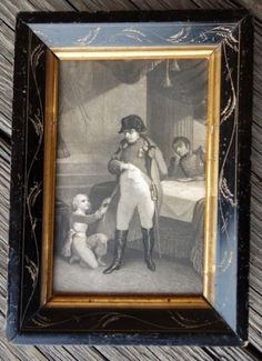 Antique-French-1800s-Black-Frame-Wheat-Etched-Napoleon-Engraving-Vintage-NR