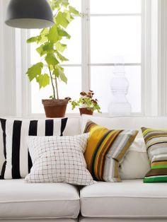 almohadones, plantas y lamparas