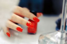 Cherry red nails