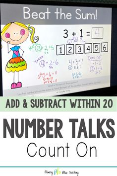 These digital number talks for first grade are a life saver. These math talks reinforce the count on strategy in addition. The variety of activities get students thinking and talking math like never before. Snag your set today! First Grade Lessons, Teaching First Grade, First Grade Math, Math Lessons, Teaching Math, Math Fact Practice, Math Talk, Elementary Math, Kindergarten Math