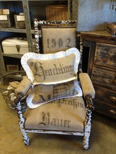 French Country Upholstered Chairs - Ideas on Foter Mismatched Furniture, Vintage Furniture, Cool Furniture, Reupholster Furniture, Upholstered Furniture, Decor Crafts, Home Crafts, French Country Chairs, Burlap Sacks