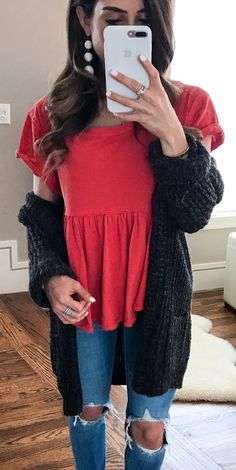 #spring #outfits This Peplum Top Is One Of My Faves For Spring + I Just Got It In White! I Also Linked Another Peplum Top That I Just Got + 2 Similar Cardigans To Mine And My Ripped Jeans✨// Red Top + Destroyed Skinny Jeans + Black Cardigan