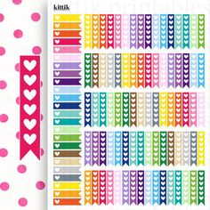 Heart Flag To Do Checklists    Printable Planner Stickers    Instant Digital Download