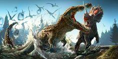 Un Deinosuchus ataca a un desprevenido Monoclonius mientras una bandada de Quetzalcoatlus surca el cielo. Obra del artista Josh Cotton.