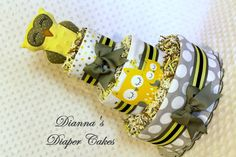 Baby Diaper Cake Yellow Owls Shower Gift or Centerpiece Handmade Baby Rattle Baby Shower Diapers, Baby Shower Cakes, Baby Shower Gifts, Owl Shower, Shower Ideas, Baby Owls, Baby Baby, Owl Diaper Cakes, Baby Coming