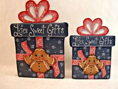 """Gingerbread Fridge Magnet and/or Shelf Sitter, """"Life's Sweet Gifts"""", designed by Pamela House and painted by  ByBrendasHand"""