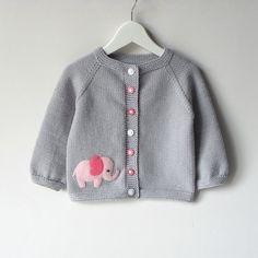 Pink elephant suéter bebé gris plata chica chaqueta por Tuttolv