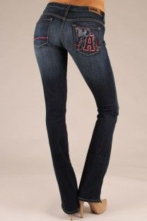OCJ Apparel | Premium Collegiate Denim | ABAMA Branded Skinny in Crimson