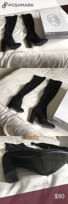 """Steve Madden boots Steve Madden knee high suede back boots. Worn once! Great condition and 4"""" heel. selling because I tore my acl and can't wear this tall boot Steve Madden Shoes Heeled Boots"""