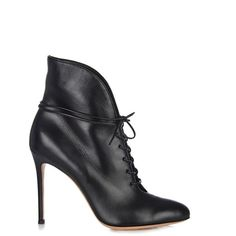 Gianvito Rossi Jane lace-up leather ankle boots (705 CAD) ❤ liked on Polyvore featuring shoes, boots, ankle booties, black, lace up ankle boots, ankle boots, leather ankle boots, black lace up boots and black leather booties