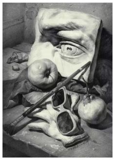 one of the best ways for the beginners to start practicing drawing or painting for the first time is with still-… Graphite Drawings, Drawing Sketches, Pencil Drawings, Art Drawings, Academic Drawing, Academic Art, Still Life Drawing, Still Life Art, Art And Illustration