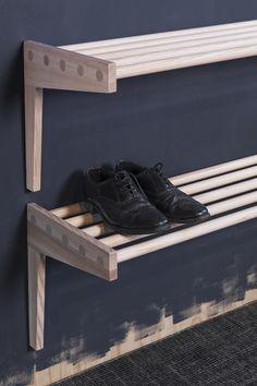 Shelf from Granit, Smålands Skinnmanufaktur & Formbruket Entryway Wall, Hallway Storage, Entry Hallway, Porch Storage, Built In Storage, Shoe Storage, Laundry Basket Dresser, Ikea, Diy Shoe Rack