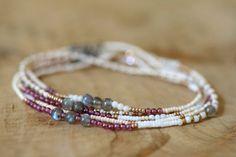 Beaded Wrap Bracelet, Seed Bead Jewelry, Beaded Stretch Bracelet, Garnet, Labradorite & Amazonite, Beaded Boho Jewelry, Elastic Claspless