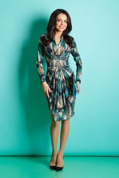 Платье изумрудного цвета | Купить платье с драпировкой