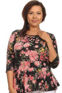 Floral Peplum Top - Plus sizes only - $25