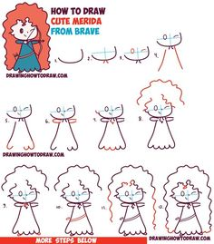 How to Draw Cute Kawaii Chibi Merida from Disney Pixar's Brave in Easy Step by Step Drawing Tutorial for Kids (Step Drawing Doodles) Easy Disney Drawings, Kawaii Drawings, Doodle Drawings, Easy Drawings, Drawing Disney, Easy To Draw Disney, Pencil Drawings, Kawaii Disney, Disney Art