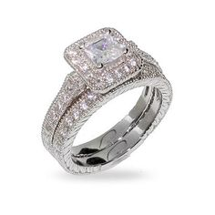 Princess Cut Halo Heirloom CZ Wedding Ring Set: Jewelry: Amazon.com