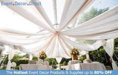 Event Decor Direct's Sheer Voile Fabrics are perfect for event designers that require premium backdrops and ceiling drapes for all their events! Can be used for church auditoriums, graduation ceremonies, speeches, weddings, and many more. Available in a wide variety of lengths and colors with Free Shipping options! Shop Now at EventDecorDirect.com Used Wedding Decor, Wedding Tent Decorations, Wedding Reception, Wedding Ideas, Party Wedding, Labor Day Wedding, Reception Layout, Wedding Venues, Backdrop Decorations