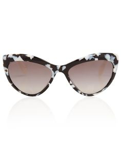 MIU MIU BLACK AND WHITE ACETATE CAT EYE SUNGLASSES  £175.00