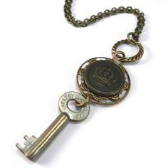 Vintage Keepsake Necklace - Key and Crown by Compass Rose Design Jewelry, handmade in California