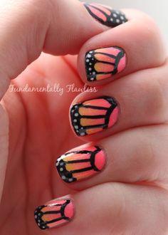 Butterfly Nail Art using the Black Rio Nail Art Pen & dotting tool #nailart #butterfly #cute