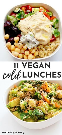 11 Clean Eating Cold Lunches Easy Vegetarian Ideas Beauty Bites 11 healthy cold vegan lunches These easy clean eating lunch ideas are great for the office and can Quinoa Recipes Easy, Whole Food Recipes, Healthy Recipes, Easy Clean Eating Recipes, Easy Recipes, Vegan Polenta Recipes, Vegan Recipes For Beginners, Vegan Avocado Recipes, Vegan Recipes For One