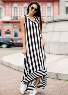 Striped Dresses 2018 Outfits Ideas 30 Source by halaelkhatib Simple Dresses, Cute Dresses, Casual Dresses, Striped Maxi Dresses, Linen Dresses, Modest Fashion, Fashion Dresses, Fashion Pants, Stripped Dress