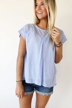 Light Blue Pin Stripe Top | ROOLEE