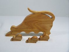Animal Wooden Puzzle Scroll Saw Cut Mouse Honey Locust Wood