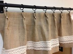 Burlap kitchen curtains are an interesting addition to shabby chic, primitive, country, or ecological decoration. Shabby Chic Valance, Cortinas Shabby Chic, Burlap Valance, Shabby Chic Decor, Burlap Kitchen Curtains, Farmhouse Curtains, Country Curtains, Drop Cloth Curtains, Cafe Curtains
