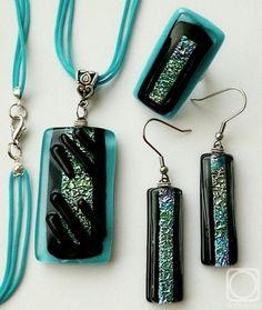 "Repina Elena. Jewelry Set ""Mademuasel "" glass, fusing"