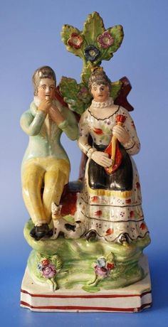 Antique British Pearlware Staffordshire Pottery Figure Couple and Dog