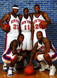Quentin Richardson, Jamal Crawford, Jared Jeffries, Nate Robinson, Stephon Marbury with the New York Knicks New York Basketball, Basketball Legends, Sports Basketball, Basketball Players, Allan Houston, Stephon Marbury, Nate Robinson, Sport Icon, Wnba