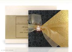 lujo, flocados, terciopelo, damasco, crema y oro, en caja invitación de la boda
